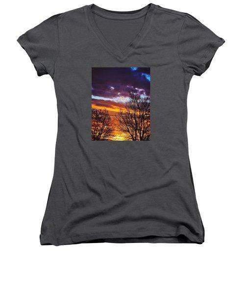 Colorful Skies Women's V-Neck T-Shirt (Junior Cut) by Nikki McInnes