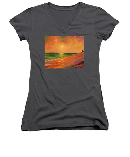 Colorful Sunset Women's V-Neck (Athletic Fit)