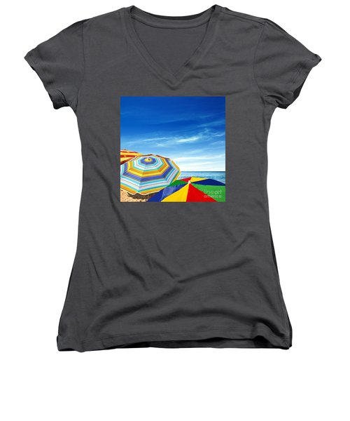 Colorful Sunshades Women's V-Neck T-Shirt (Junior Cut) by Carlos Caetano