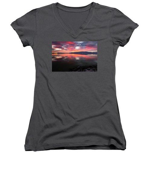 Colorful Utah Lake Sunset Women's V-Neck