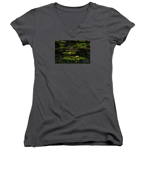 Colorful Waterlily Pond Women's V-Neck T-Shirt