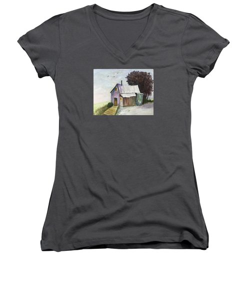 Colorful Weathered Barn Women's V-Neck T-Shirt