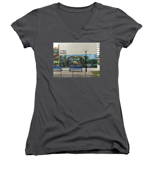 Coloring Holland V Wall 1 - Memories Women's V-Neck T-Shirt (Junior Cut) by Belinda Low