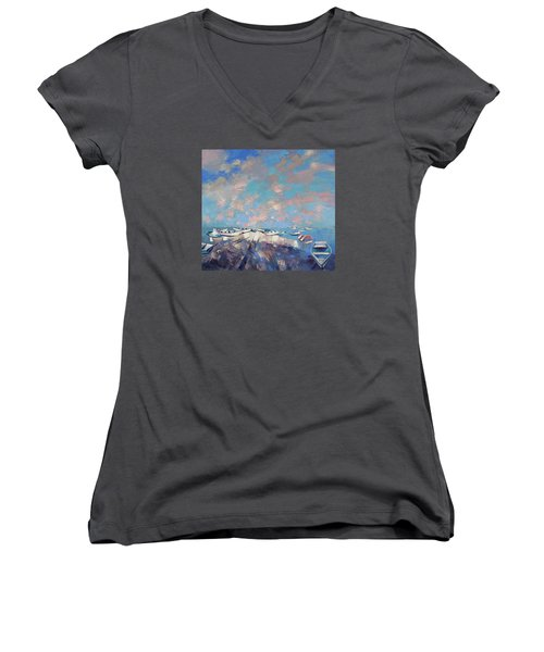 Women's V-Neck T-Shirt (Junior Cut) featuring the painting Colors Flamingo by Anastasija Kraineva
