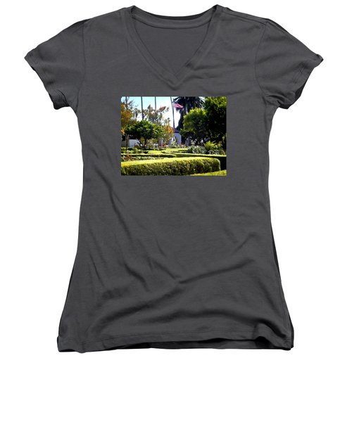 Women's V-Neck T-Shirt (Junior Cut) featuring the photograph Colors In The Garden by Glenn McCarthy Art and Photography