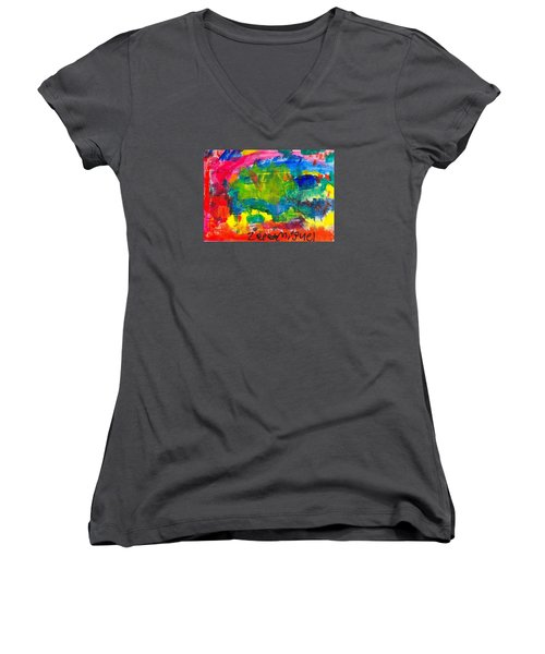 Women's V-Neck T-Shirt (Junior Cut) featuring the painting Colors by Artists With Autism Inc