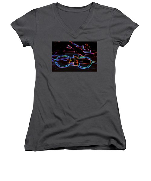 Women's V-Neck T-Shirt (Junior Cut) featuring the digital art Colors Of Clear Sight by Aliceann Carlton