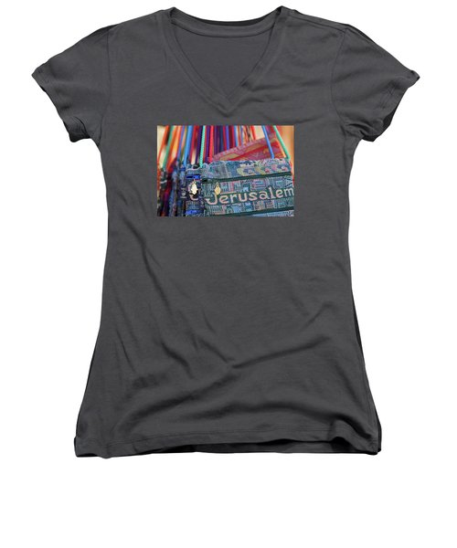 Colors Of Jerusalem Women's V-Neck T-Shirt (Junior Cut) by Yoel Koskas