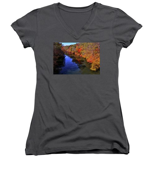 Colors Of Nature - Fall River Reflections 001 Women's V-Neck T-Shirt (Junior Cut) by George Bostian