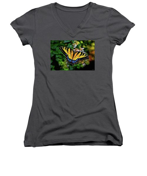 Women's V-Neck T-Shirt (Junior Cut) featuring the photograph Colors Of Nature - Swallowtail Butterfly 003 by George Bostian