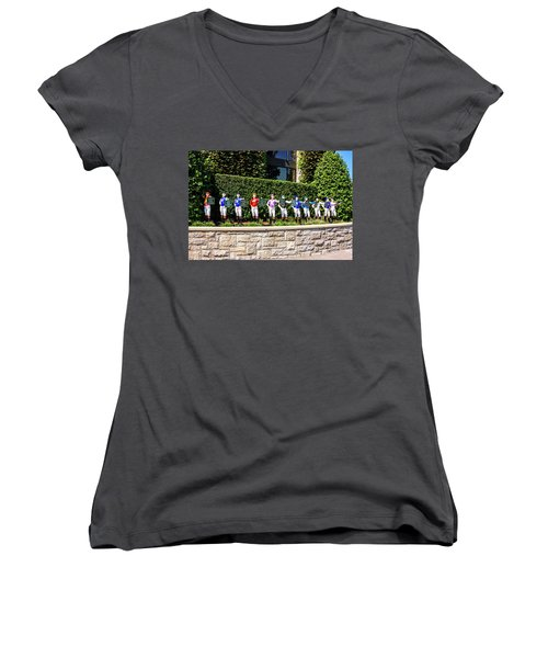 Colors Of Past Stakes At Keeneland Ky Women's V-Neck T-Shirt (Junior Cut) by Chris Smith