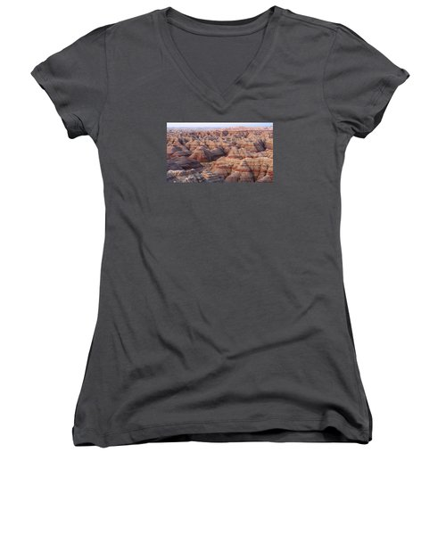 Women's V-Neck T-Shirt (Junior Cut) featuring the photograph Colors Of The Badlands by Monte Stevens