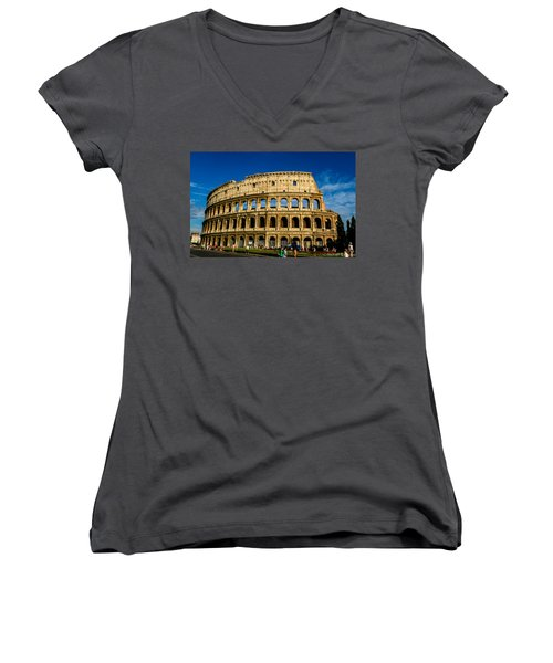 Colosseo Roma Women's V-Neck T-Shirt (Junior Cut) by Rainer Kersten