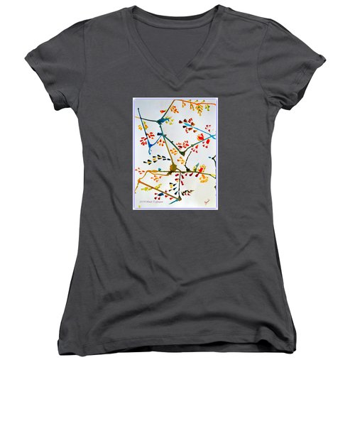 Colourful Blossoms Women's V-Neck T-Shirt (Junior Cut) by Sonali Gangane