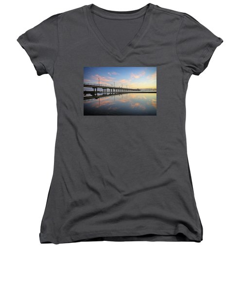 Colourful Cloud Reflections At The Pier Women's V-Neck