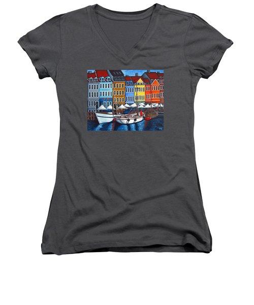 Colours Of Nyhavn Women's V-Neck T-Shirt
