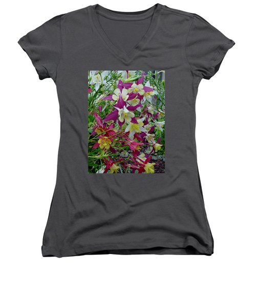 Columbine Women's V-Neck T-Shirt (Junior Cut) by Shirley Heyn