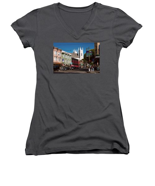 Columbus And Stockton In North Beach Women's V-Neck
