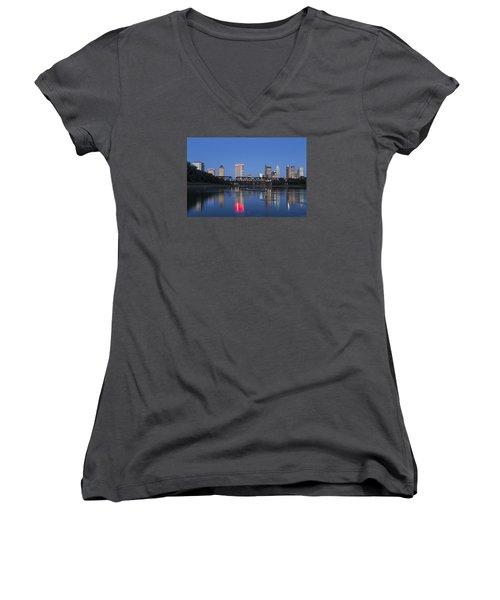 Columbus Evening Sky Women's V-Neck T-Shirt (Junior Cut) by Alan Raasch