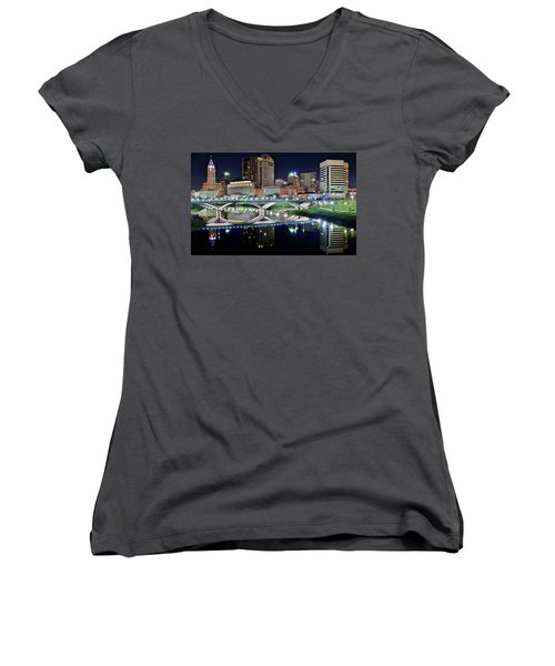 Columbus Over The Scioto Women's V-Neck T-Shirt (Junior Cut) by Frozen in Time Fine Art Photography