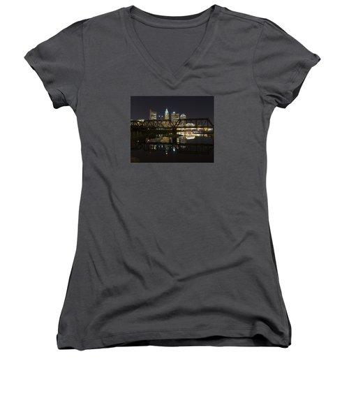 Columbus Skyline Women's V-Neck T-Shirt (Junior Cut) by Alan Raasch