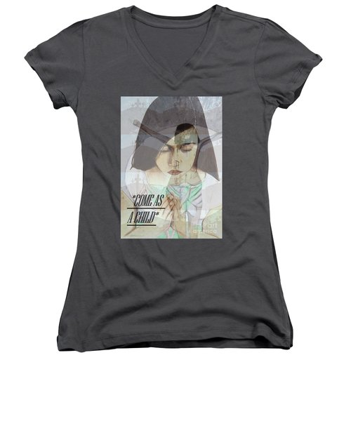Come As A Child Women's V-Neck T-Shirt (Junior Cut) by Saribelle Rodriguez