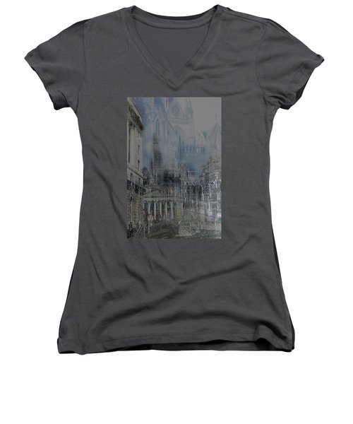 Comes The Night - City Deamscape Women's V-Neck (Athletic Fit)