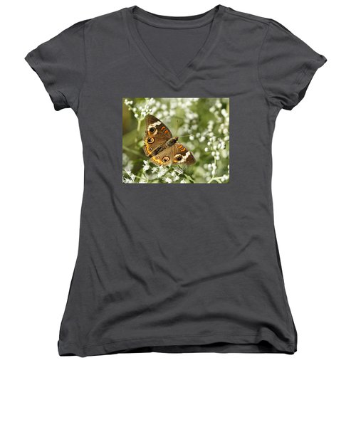 Common Buckeye Butterfly On White Thoroughwort Wildflowers Women's V-Neck T-Shirt (Junior Cut) by Kathy Clark