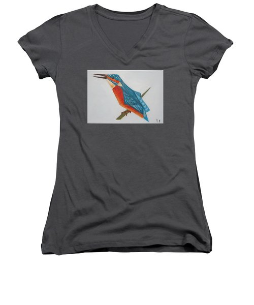 Common Kingfisher Women's V-Neck T-Shirt (Junior Cut) by Tamara Savchenko