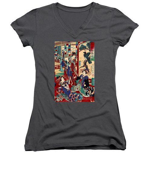Competing Brothels 1876 Women's V-Neck T-Shirt (Junior Cut) by Padre Art