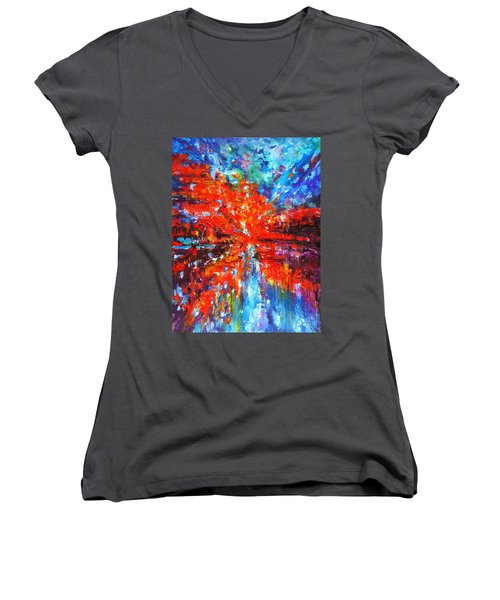 Composition # 2. Series Abstract Sunsets Women's V-Neck T-Shirt