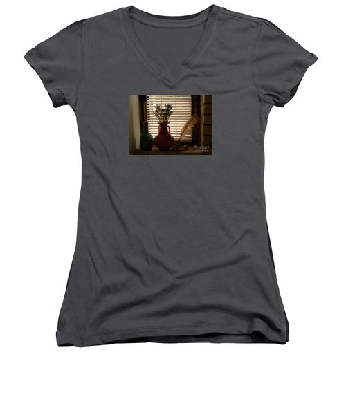 Women's V-Neck T-Shirt (Junior Cut) featuring the photograph Composition by AmaS Art