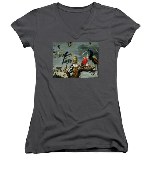 Concert Of Birds Women's V-Neck T-Shirt (Junior Cut) by Frans Snijders