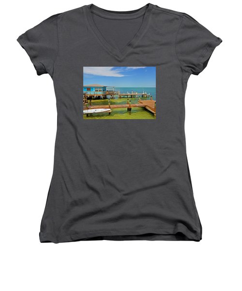 Conch Key Blue Cottage 3 Women's V-Neck T-Shirt