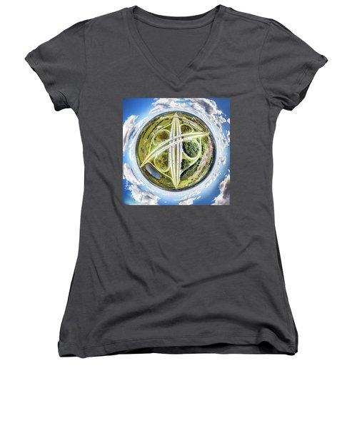Women's V-Neck T-Shirt featuring the photograph Concrete Spaghetti by Randy Scherkenbach