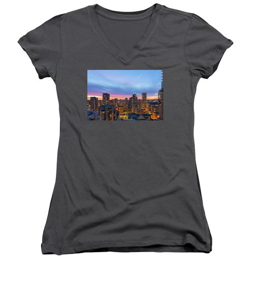 Condominium Buildings In Downtown Vancouver Bc At Sunrise Women's V-Neck (Athletic Fit)