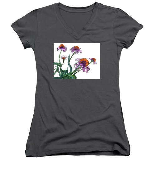 Cone Flowers Women's V-Neck T-Shirt (Junior Cut) by Jamie Downs