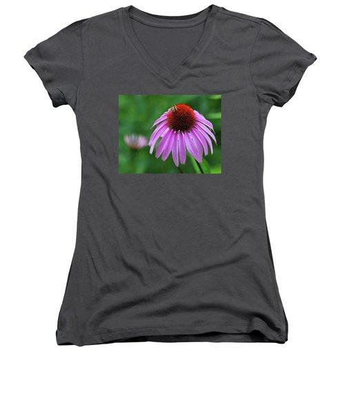 Women's V-Neck T-Shirt (Junior Cut) featuring the photograph Coneflower by Judy Vincent