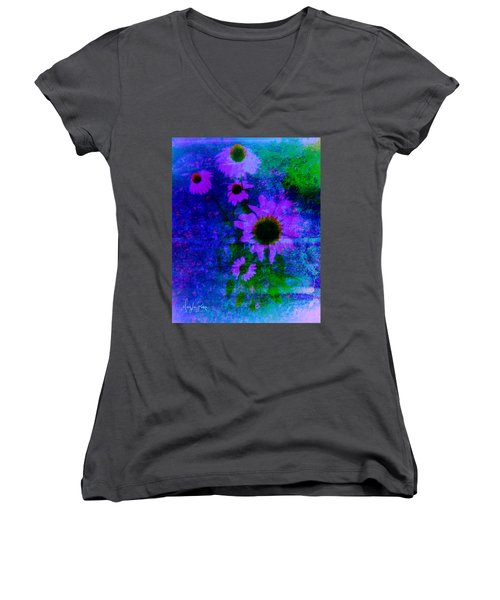 Coneflowers Abstract Women's V-Neck T-Shirt