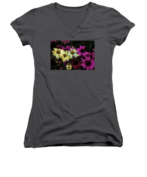 Coneflowers Women's V-Neck T-Shirt (Junior Cut) by Jay Stockhaus