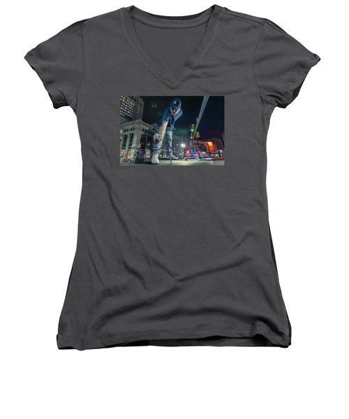 Women's V-Neck T-Shirt (Junior Cut) featuring the photograph Coney Anyone? by Nicholas Grunas