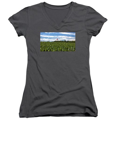Confederate Flag In Tobacco Field Women's V-Neck T-Shirt