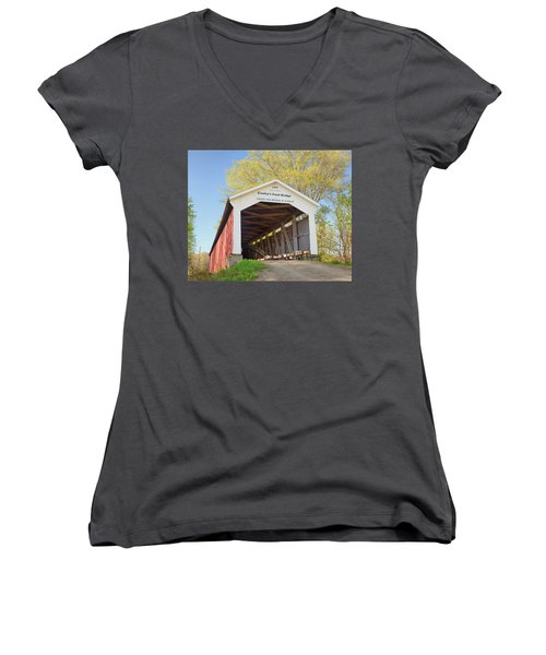 Women's V-Neck T-Shirt (Junior Cut) featuring the photograph Conley's Ford Covered Bridge by Harold Rau