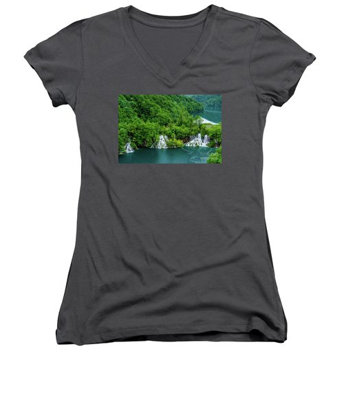 Connected By Waterfalls - Plitvice Lakes National Park, Croatia Women's V-Neck