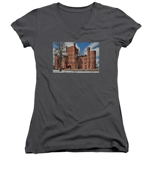 Women's V-Neck T-Shirt (Junior Cut) featuring the photograph Connecticut Street Armory 3997a by Guy Whiteley