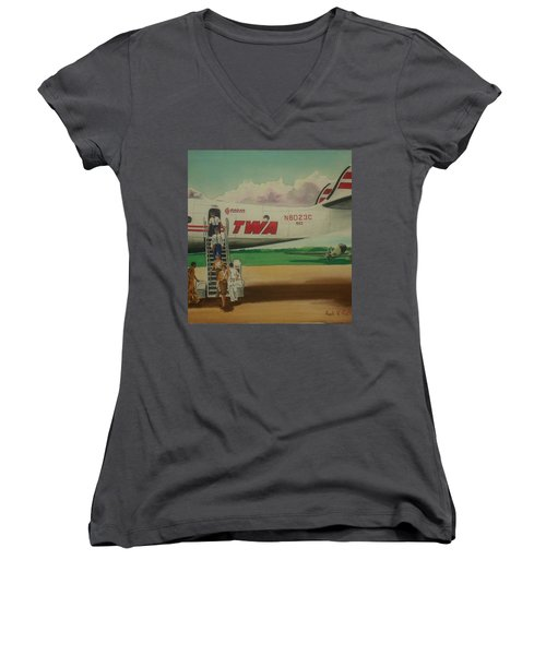 Connie Crew Deplaning At Columbus Women's V-Neck T-Shirt (Junior Cut) by Frank Hunter