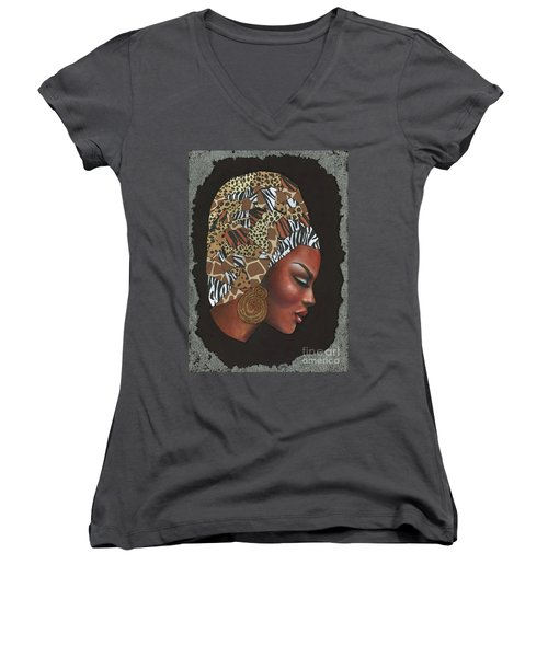 Women's V-Neck T-Shirt (Junior Cut) featuring the mixed media Contemplation Too by Alga Washington