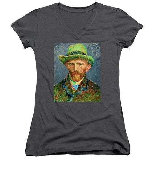 Contemporary 2 Van Gogh Women's V-Neck T-Shirt (Junior Cut) by David Bridburg