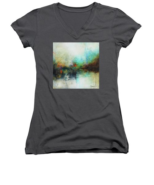 Contemporary Abstract Art Painting Women's V-Neck T-Shirt (Junior Cut) by Patricia Lintner