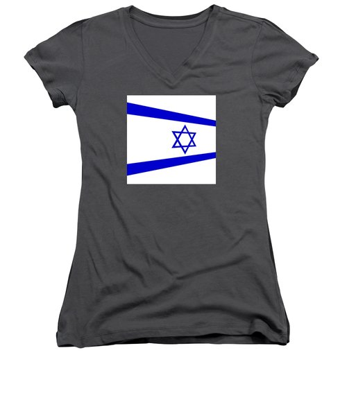 Contemporary Flag Of Israel Women's V-Neck (Athletic Fit)